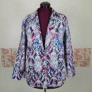 Vintage paisley blazer with pink accent button